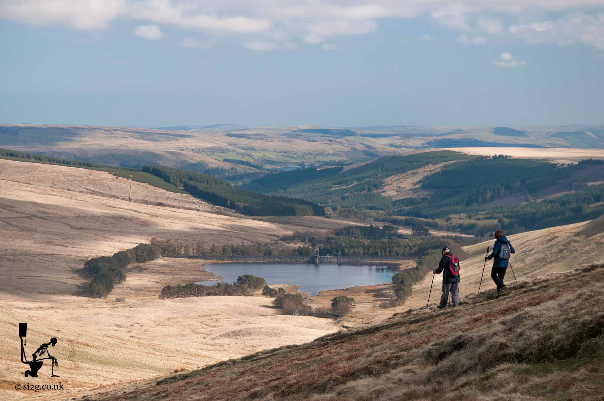 Beautiful Wales - An elderly couple descending Pen y Fan - South Wales