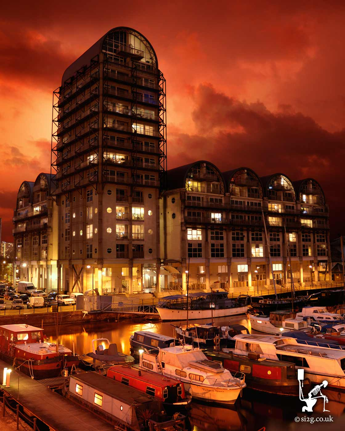 Baltic Quay - This HDR photo is a composite of around 8 or 9 photos taken at various times during the day and evening.  The effect is this powerful and dramatic image of the Baltic Quay apartments in South London and their view of the marina.
