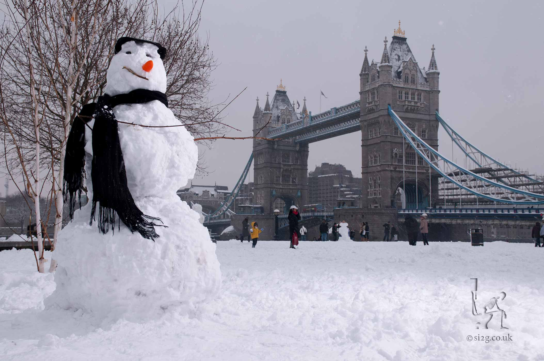 Snowman Tourist - One of our most popular photographs - a snowman visiting Tower Bridge in London.  This photo was taken on a rare occasion when the snow closed most of London.  The tubes were off and all but the most important roads were covered in deep snow.  We hiked for an hour and a half in knee-deep snow to reach Tower Bridge.
