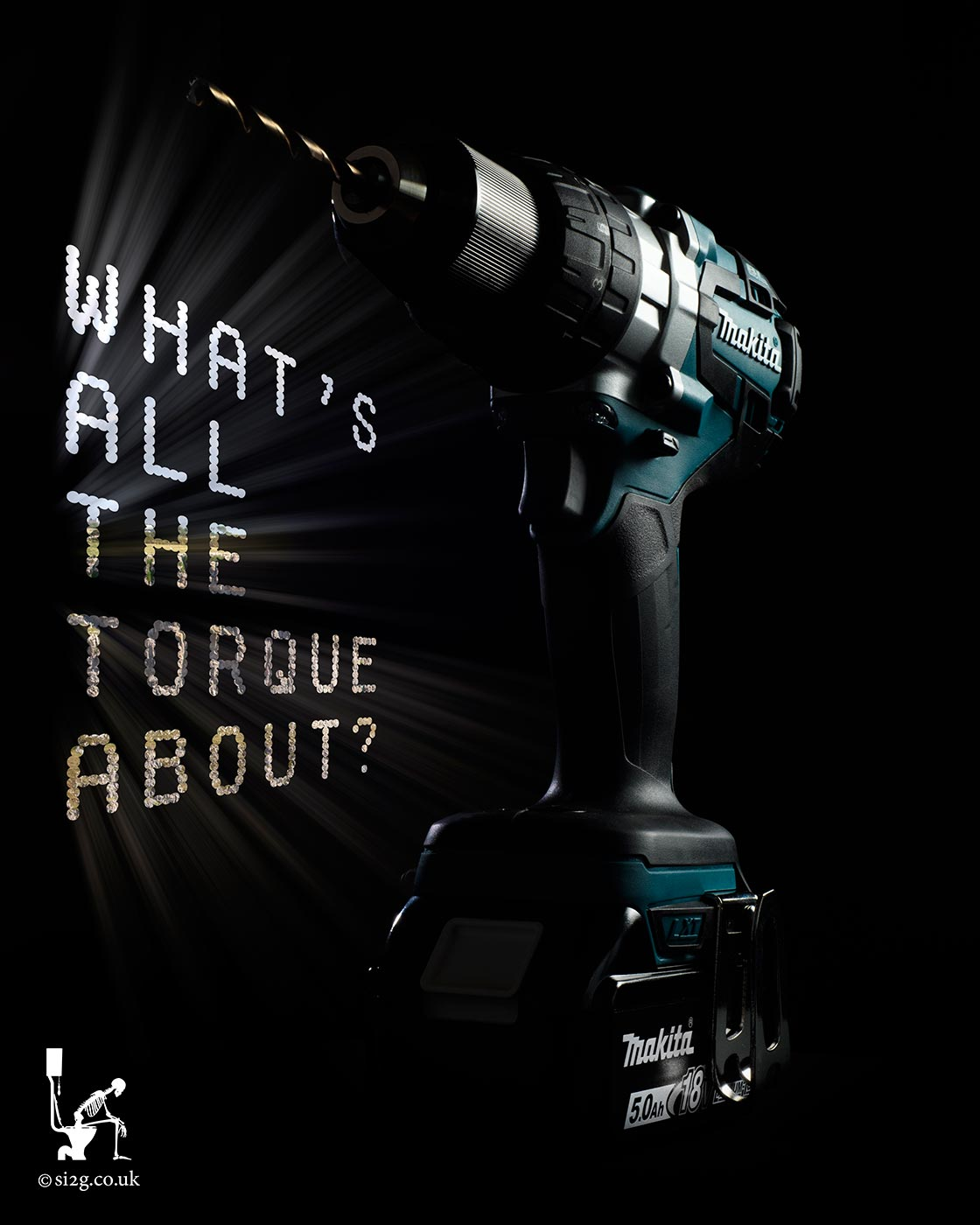 Whats All The Torque? - Photograph and copy for a review article.  The concept was to photograph the drill, make it look modern and design the text in some way to tie it together.  We decided upon using text that looks like holes drilled into the backdrop.  We back-light the photograph to make it look like it was illuminated be the light spilling in through the text.