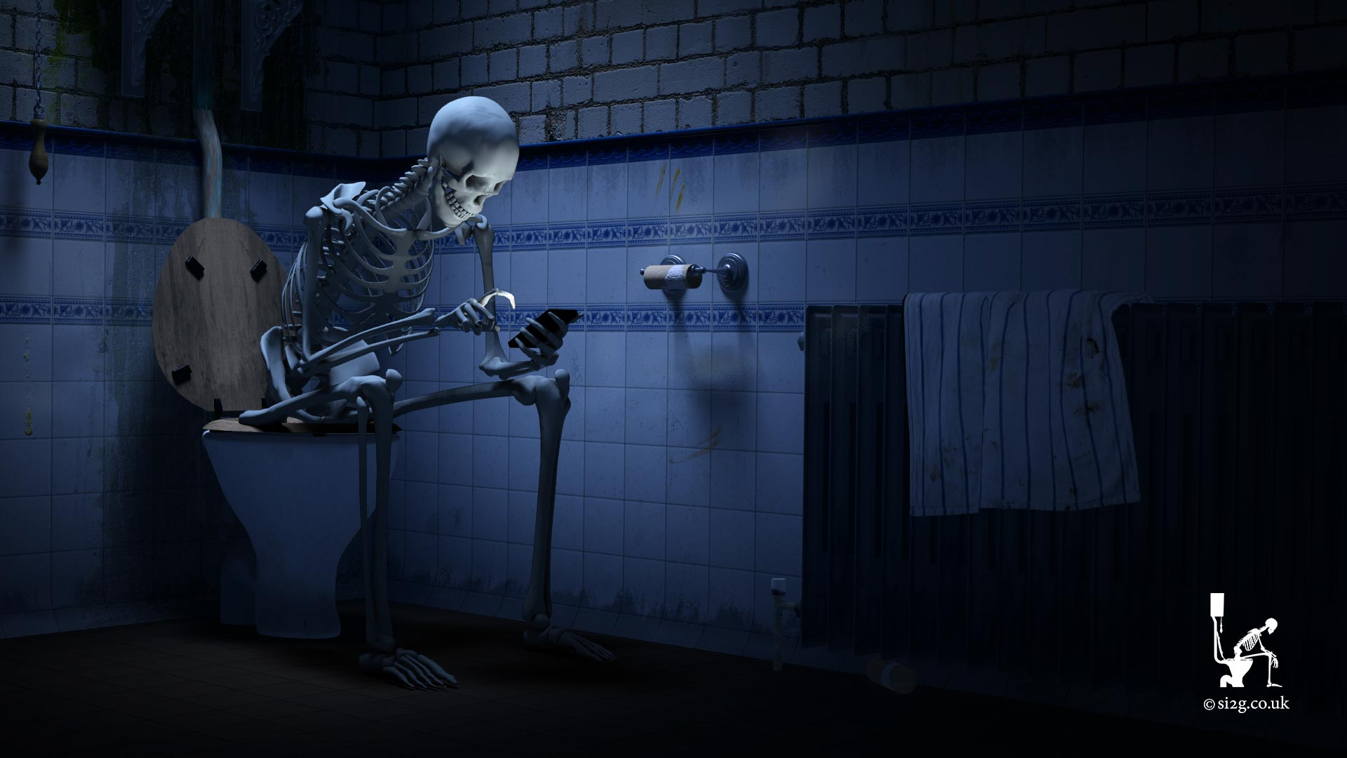 Skeleton on the Toilet - A frame from the Official S.i.2.G. company branding animation.  This concept was first developed in 1998 and was my company branding animation on the beginning of all the skateboard videos I made.  I wanted an animation that would become synonymous with my videos, like the search light branding animation 20th Century Fox have.  In 2004 I became self-employed in the TV post-production industry and launched S.i.2.G. using the same branding.  I continue to use the branding to this day and, every now and then, I update the animation using newer computer systems, software and techniques.