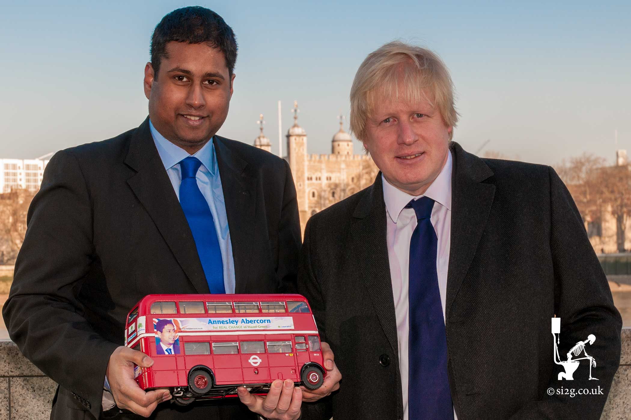 Boris Johnson Meets Annesley Abercorn - Used in campaign editorial by Annesley Abercorn.  Boris Johnson discussed the use of a bus in constituent campaigning.