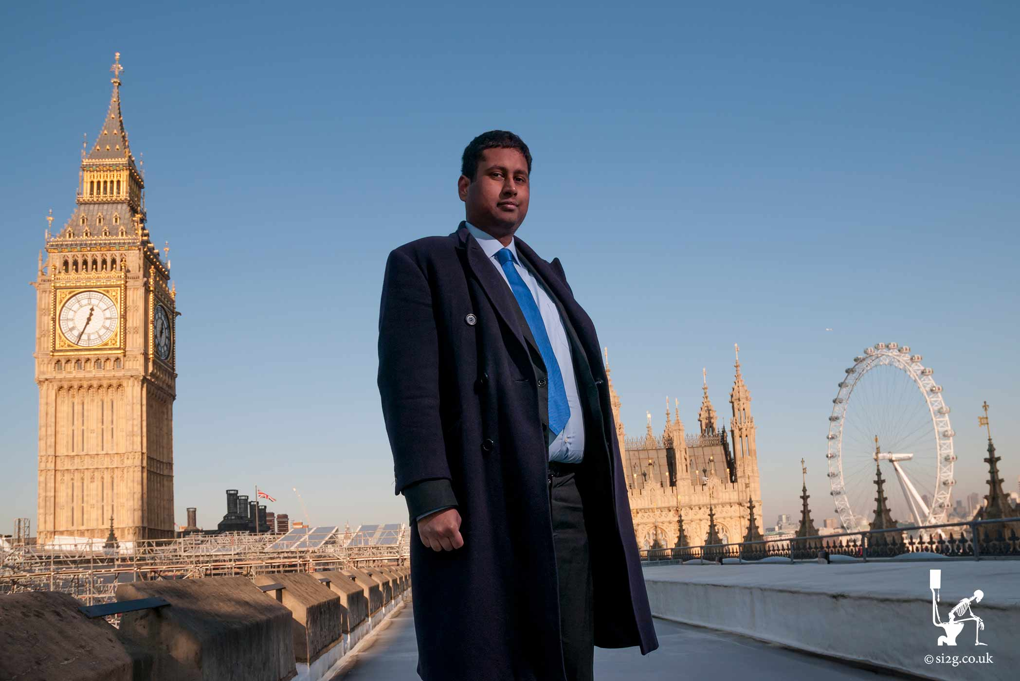 In a Location of Your Choice - Now this portrait is my favourite location shoot so far - on the roof of parliament.  This MEP hired me to take a couple of snaps for his campaign leaflet.  With some spare time at the end he asked if I would mind taking a couple of extra portraits at the Houses of Parliament.  I agreed, thinking we would simply stand on the grass outside, but after a complicated journey through the corridors of the Palace of Westminster, up a creaky-old elevator and around an old spiral staircase we ended up here.